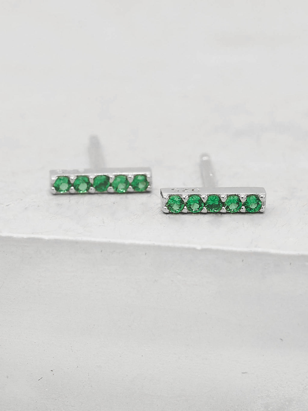 Green Emerald CZ Bar design Rhodium Plated Stud Earrings by The Faint Hearted Jewelry