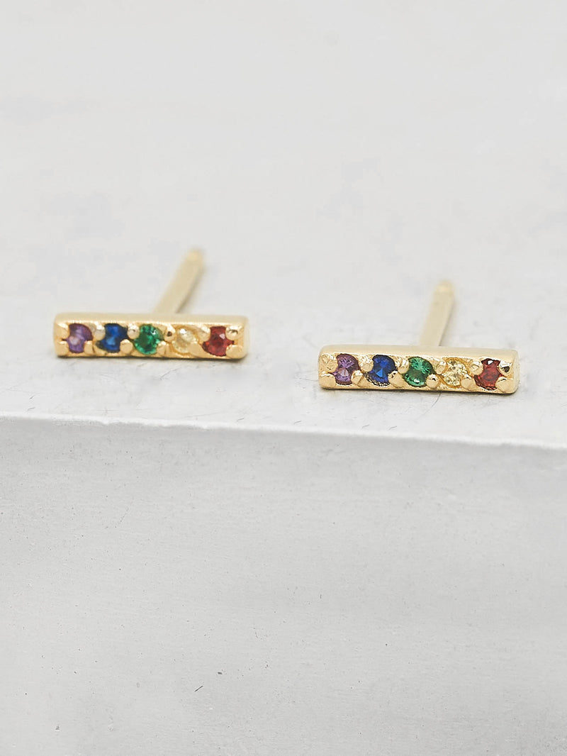 Bar design with Rainbow Round shape CZ Gold Plated Stud Earrings by the Faint Hearted Jewelry