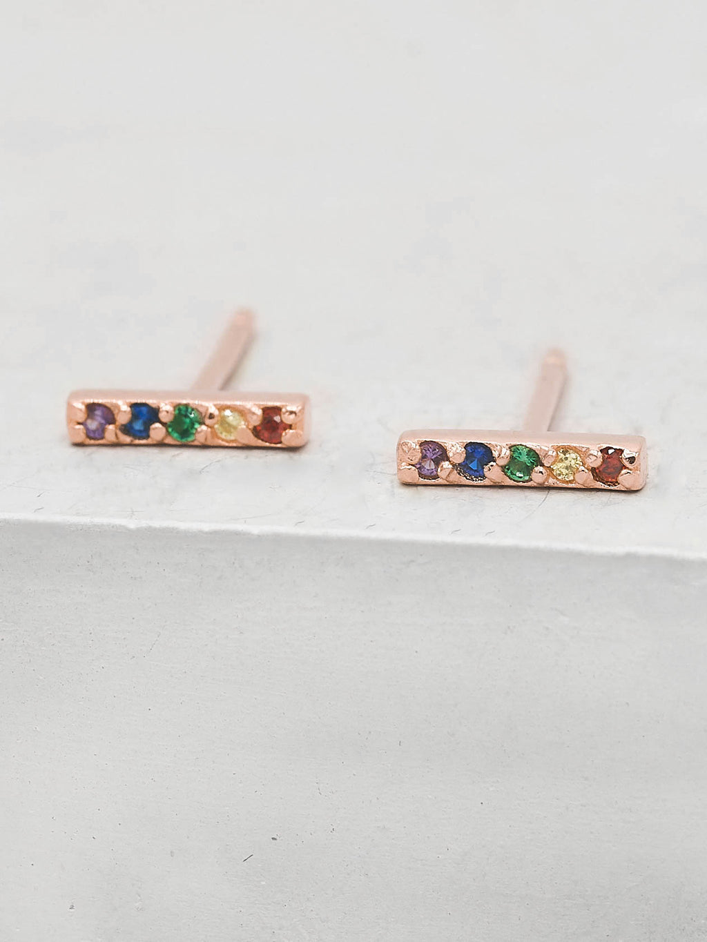 Rainbow CZ Bar design Rose Gold Plated Stud Earrings by the Faint Hearted Jewelry
