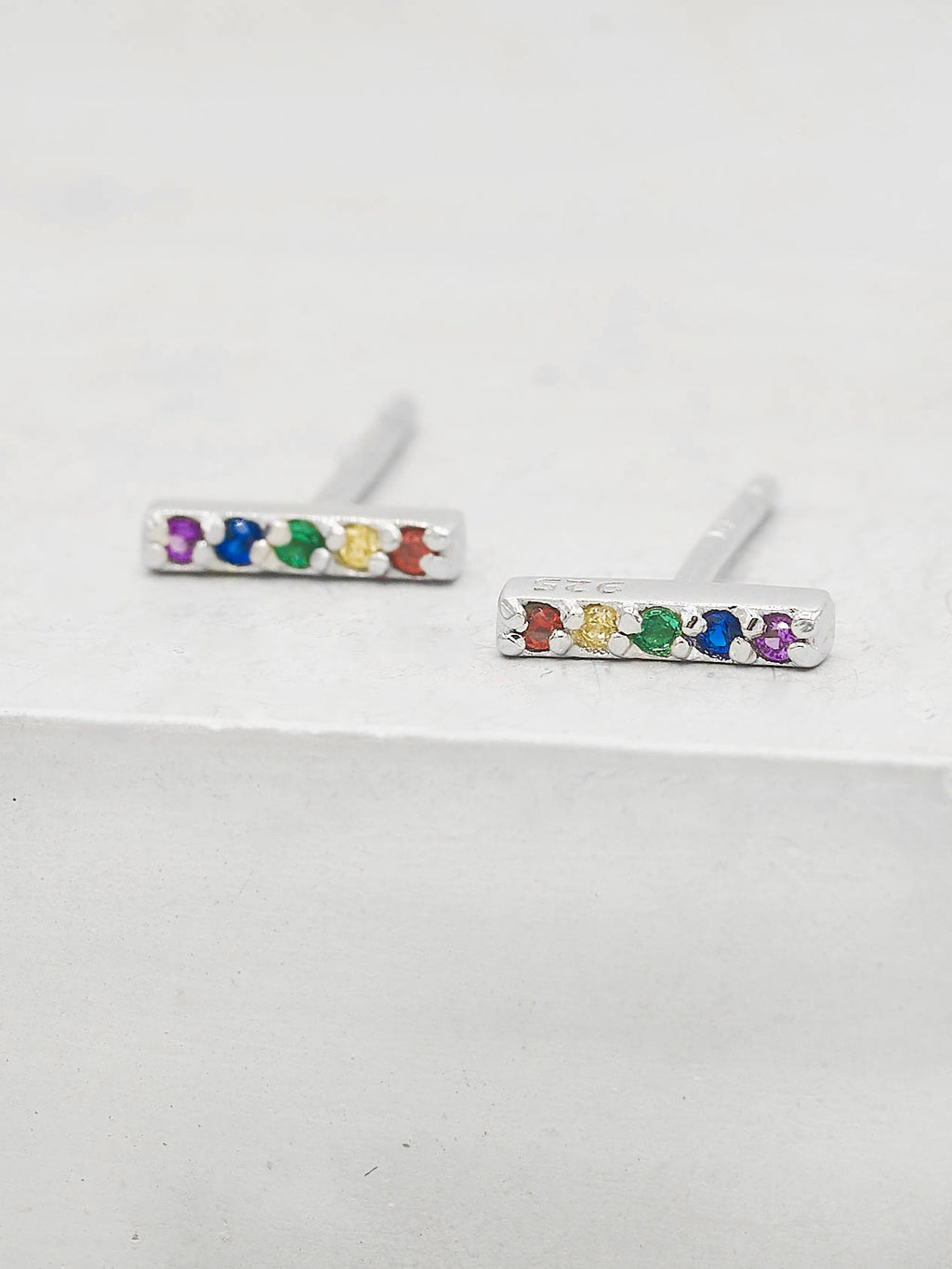Rainbow CZ stones Bar design Rhodium Plated Stud Earrings by The Faint Hearted Jewelry