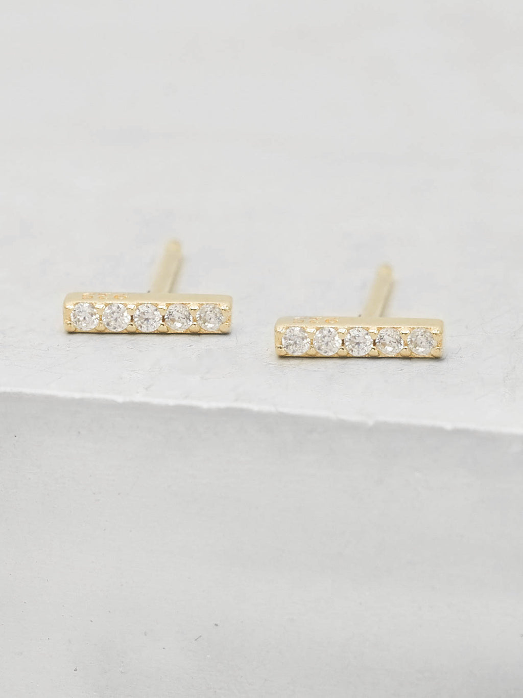 Bar design with CZ Gold Plated Stud Earrings by the Faint Hearted Jewelry