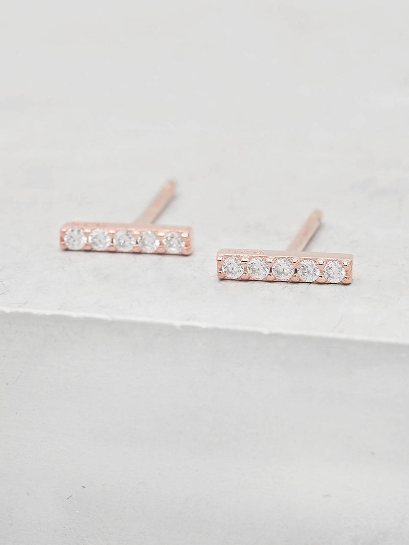 Bar design white Round cz stones Rose Gold Plated Stud Earrings by the Faint Hearted Jewelry