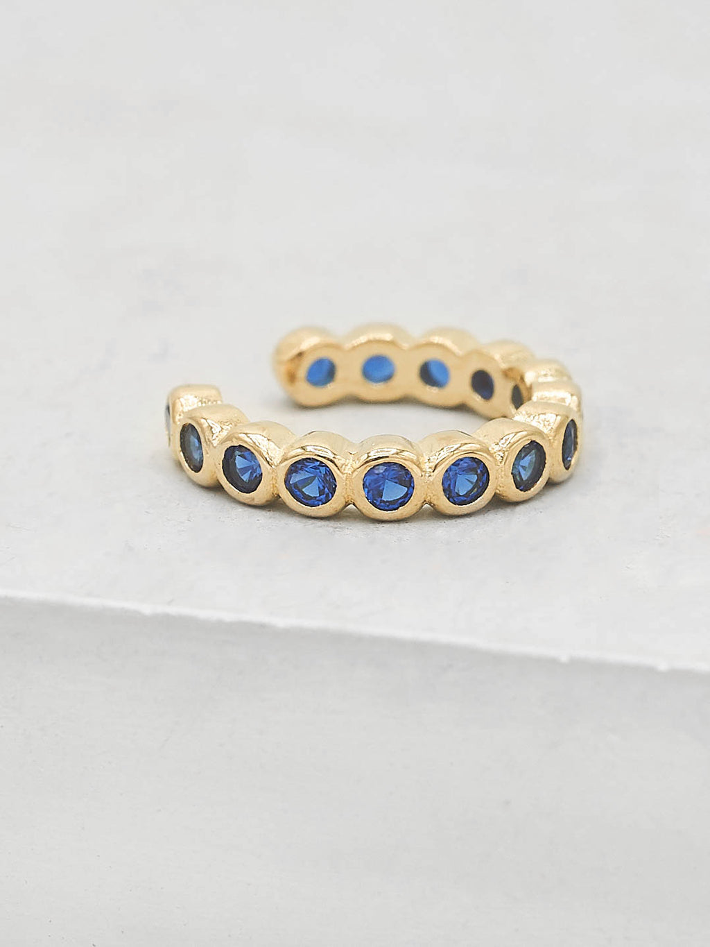 No Piercing Bezel Ear Cuff - Gold + Blue