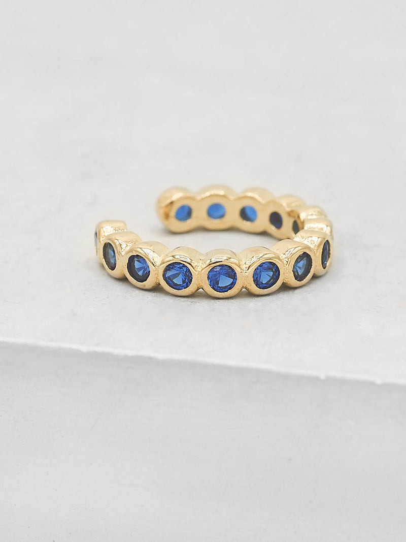 Gold Plated brass Bezel Setting Blue Sapphire Round Cubic Zirconia CZ No piercing Earcuff Earrings by The Faint Hearted Jewelry