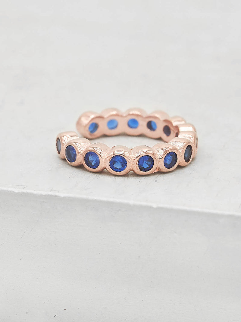 No Piercing Bezel Ear Cuff - Rose Gold + Blue