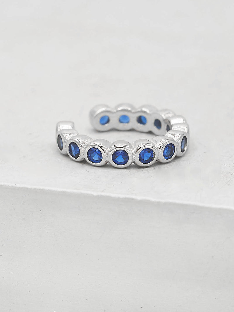 No Piercing Bezel Ear Cuff - Silver + Blue