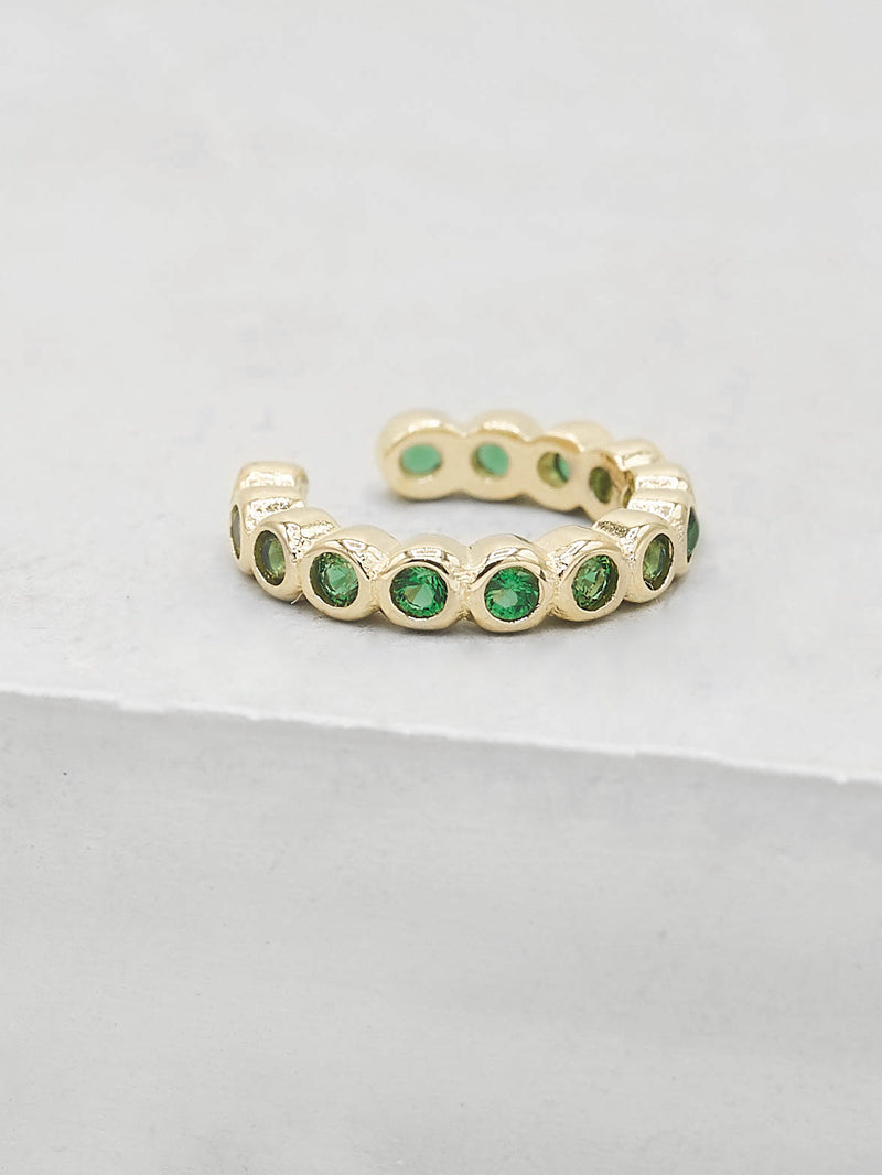 Gold Plated brass Bezel Setting Green Emerald Round Cubic Zirconia CZ No piercing Earcuff Earrings by The Faint Hearted Jewelry