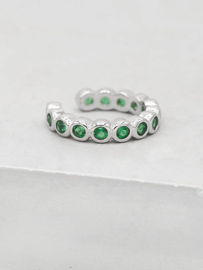 No Piercing Bezel Ear Cuff - Silver + Green