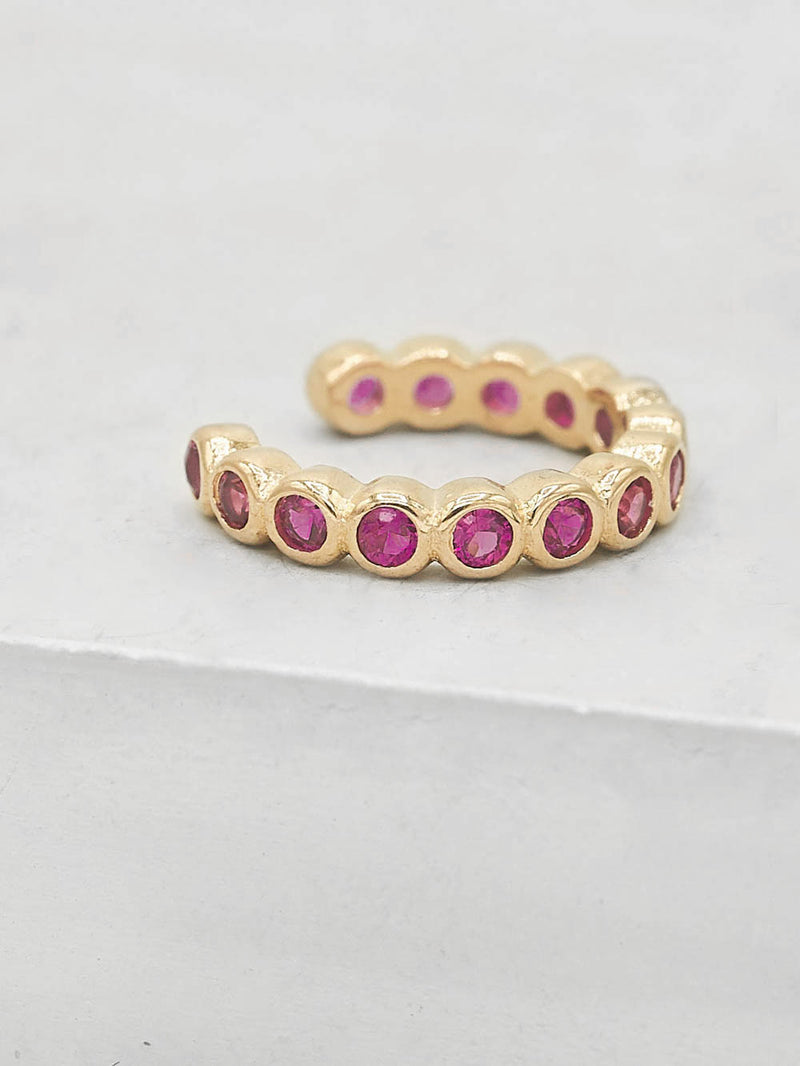 No Piercing Bezel Ear Cuff - Gold + Pink
