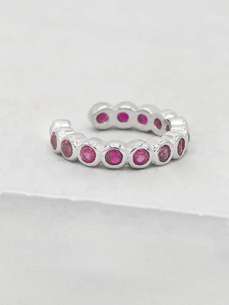 Rhodium Plated Silver Bezel Setting Pink Ruby Round Cubic Zirconia CZ No piercing Earcuff Earrings by The Faint Hearted Jewelry