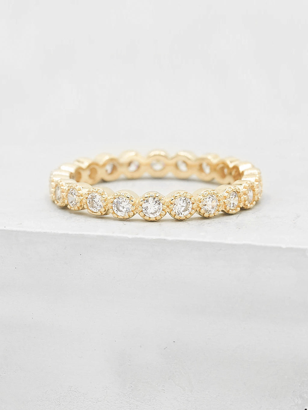 Bezel Set Milgrain Gold Plated Ring with White CZ by The Faint Hearted Jewelry
