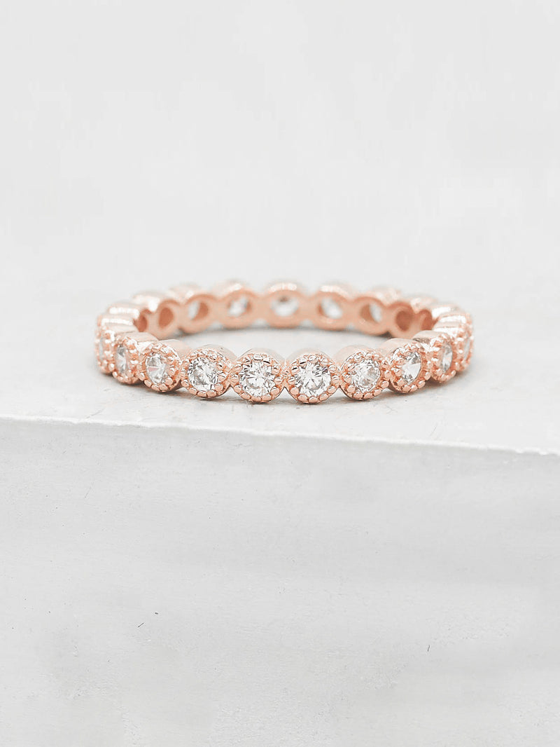 Rose Gold Plated Bezel Set Round White CZ Eternity Ring by The Faint Hearted Jewelry