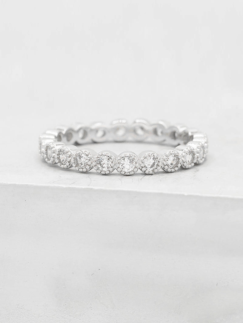Rhodium Plated Eternity Design Ring with White Round CZ by The Faint Hearted Jewelry