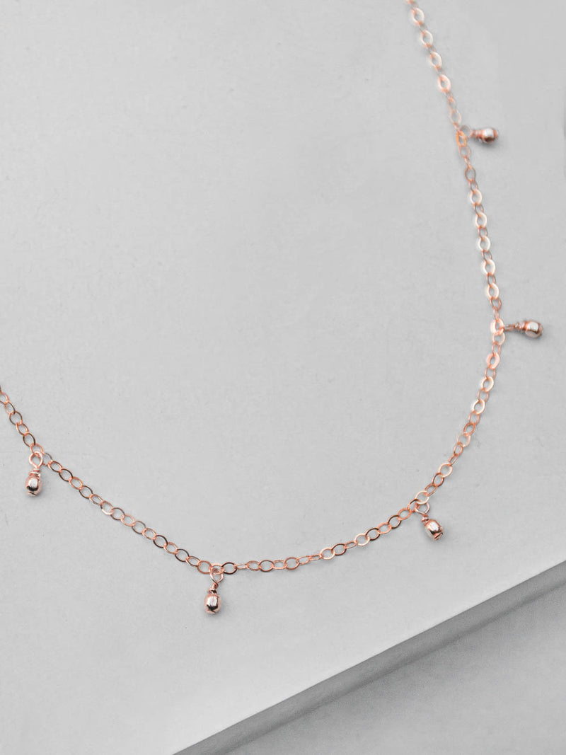 Rose Gold Bohemian Dangle Necklace by The Faint Hearted Jewelry