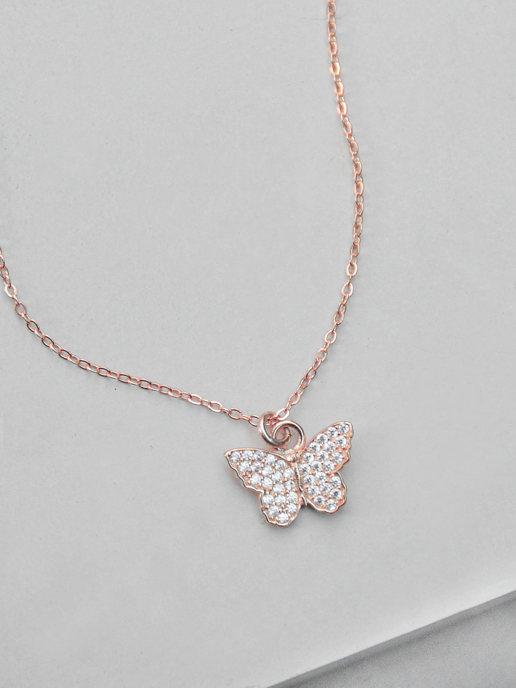 Butterfly CZ Necklace - Rose Gold