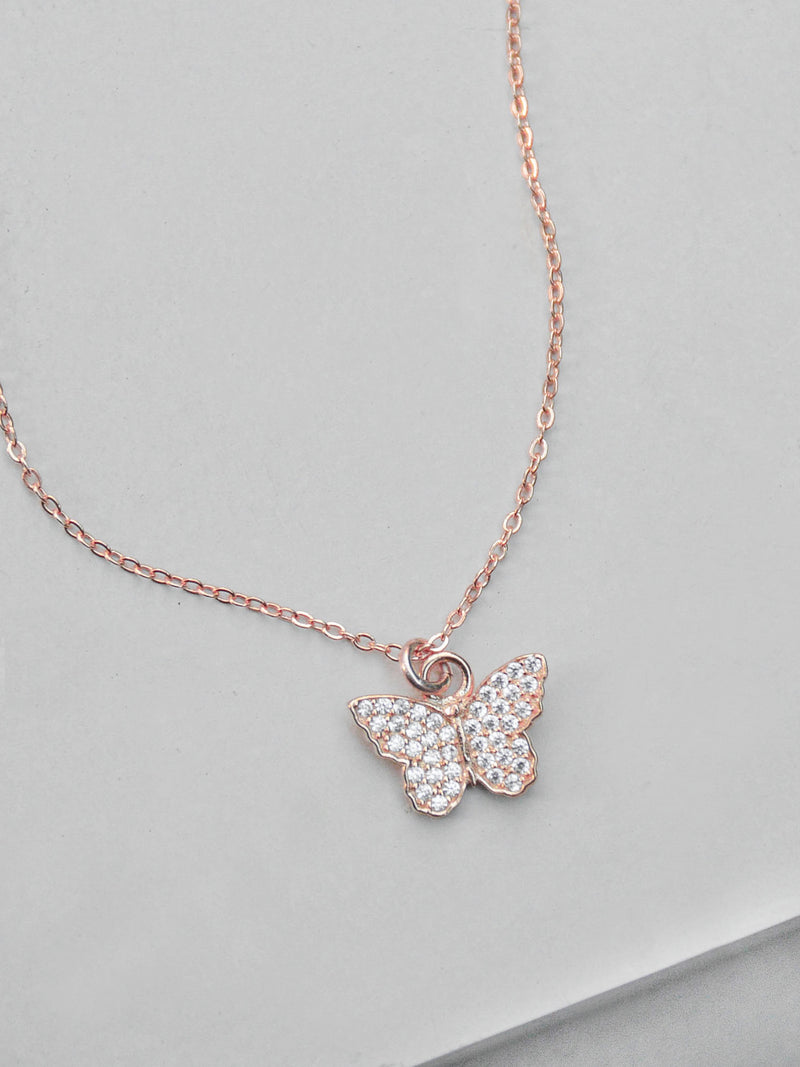 Rose Gold Butterfly CZ Charm in Gold filled Necklace by The Faint Hearted Jewelry