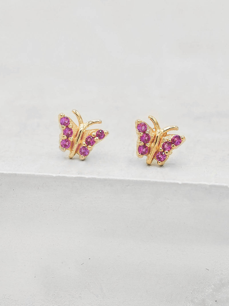 Gold Plated Tiny butterfly with Pink CZ cubic Zirconia Dainty Stud Earrings by The Faint Hearted jewelry