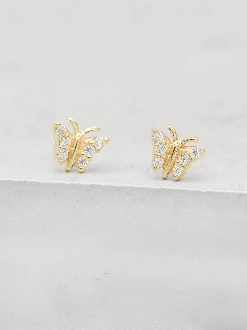 Gold Plated Tiny butterfly with white CZ cubic Zirconia Dainty Stud Earrings by The Faint Hearted jewelry