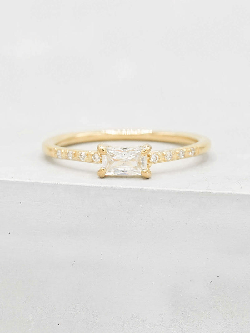 Baguette and Round White CZ Minimalistic Gold Plated Ring  by The Faint Hearted Jewelry