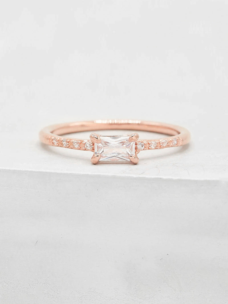 Rose Gold Plated baguette and Round Cut CZ Dainty Ring by The Faint Hearted Jewelry