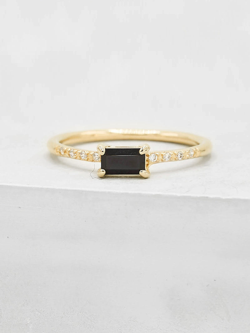 Black Baguette Dainty Minimalistic Stackable Ring by The Faint Hearted Jewelry
