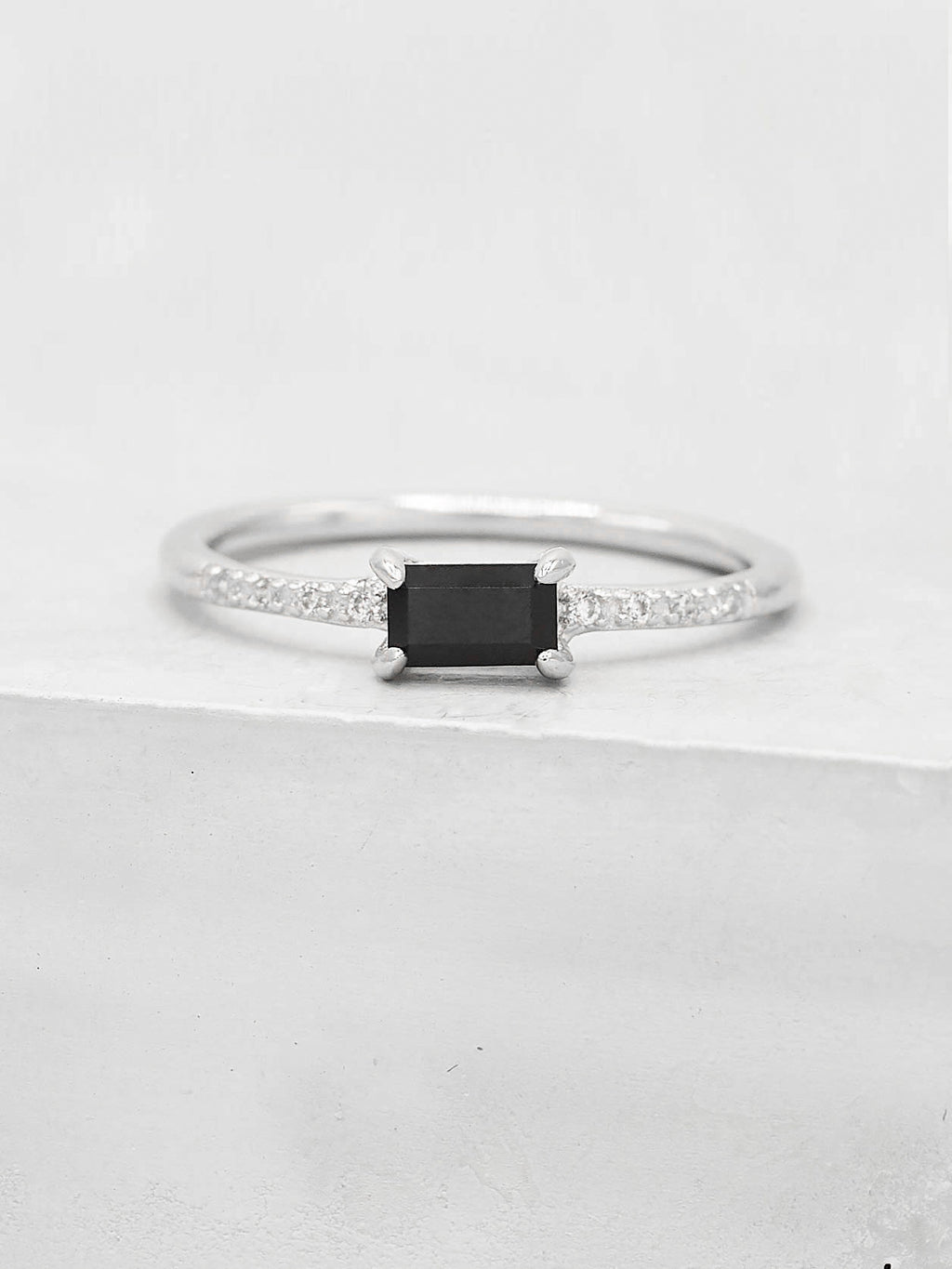 Rhodium Plated Black Baguette CZ Ring by The Faint Hearted Jewelry