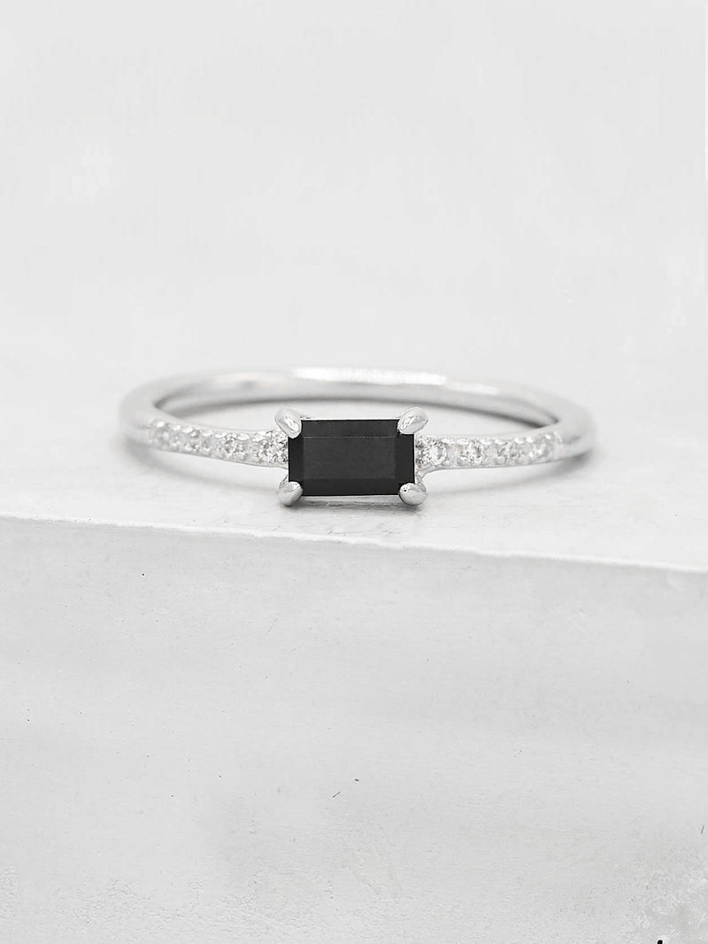 Classic Baguette Ring - Silver + Black