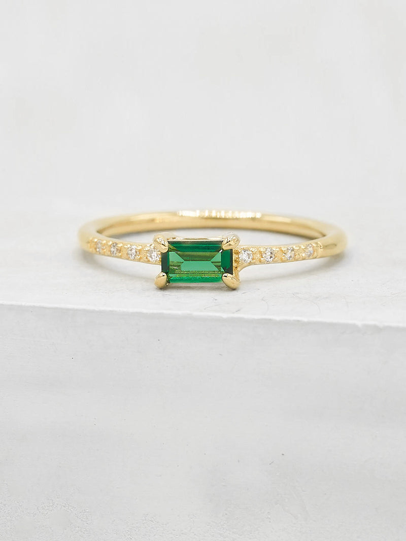 Green baguette and Round cut CZ Stacking Ring by The Faint Hearted Jewelry