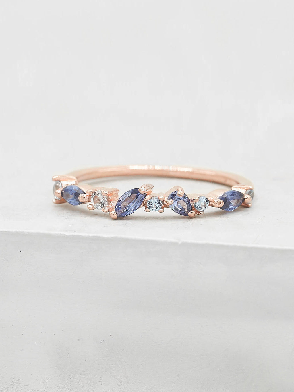 Rose Gold Plated Cluster design with Blue Oval, Round and Pear shape CZ Ring by The Faint Hearted Jewelry