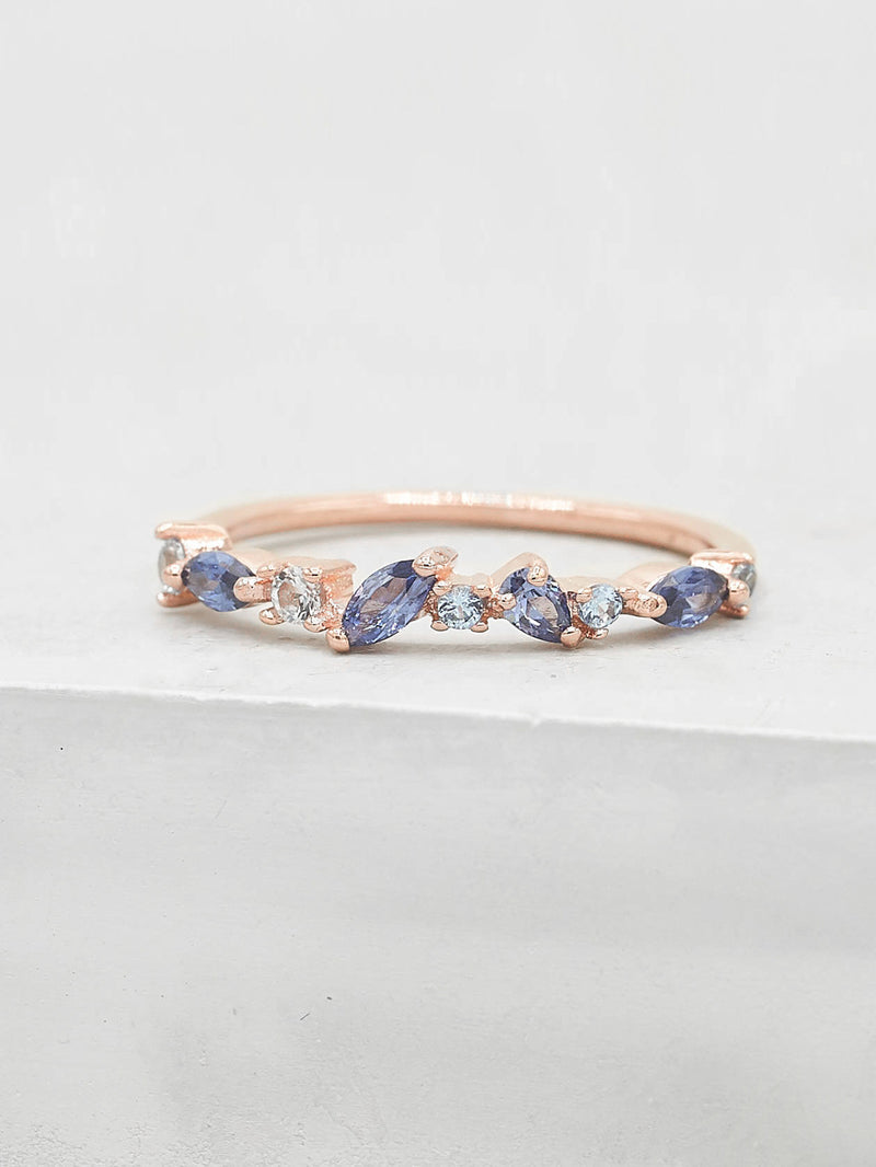 Cluster Ring - Rose Gold + Blue