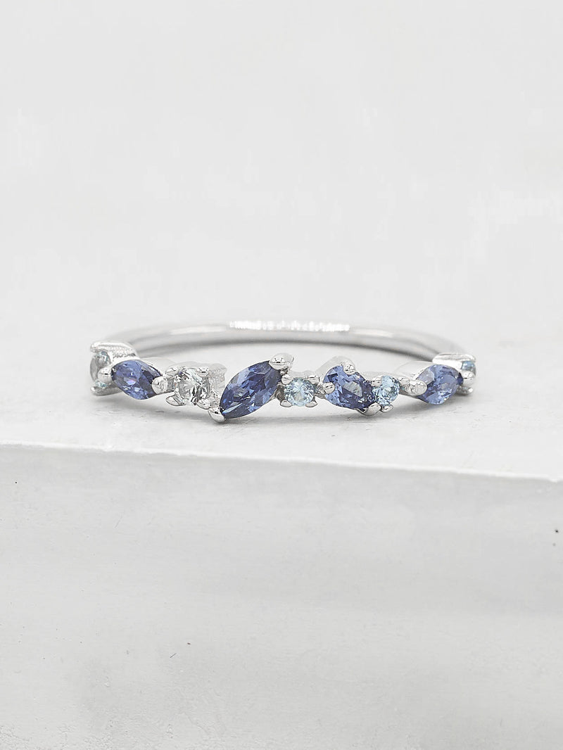Cluster Ring - Silver + Blue