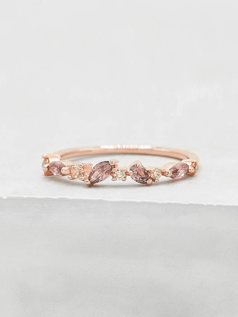 Rose Gold Plated Brass Cluster design Pink CZ Stones Ring by The Faint Hearted Jewelry