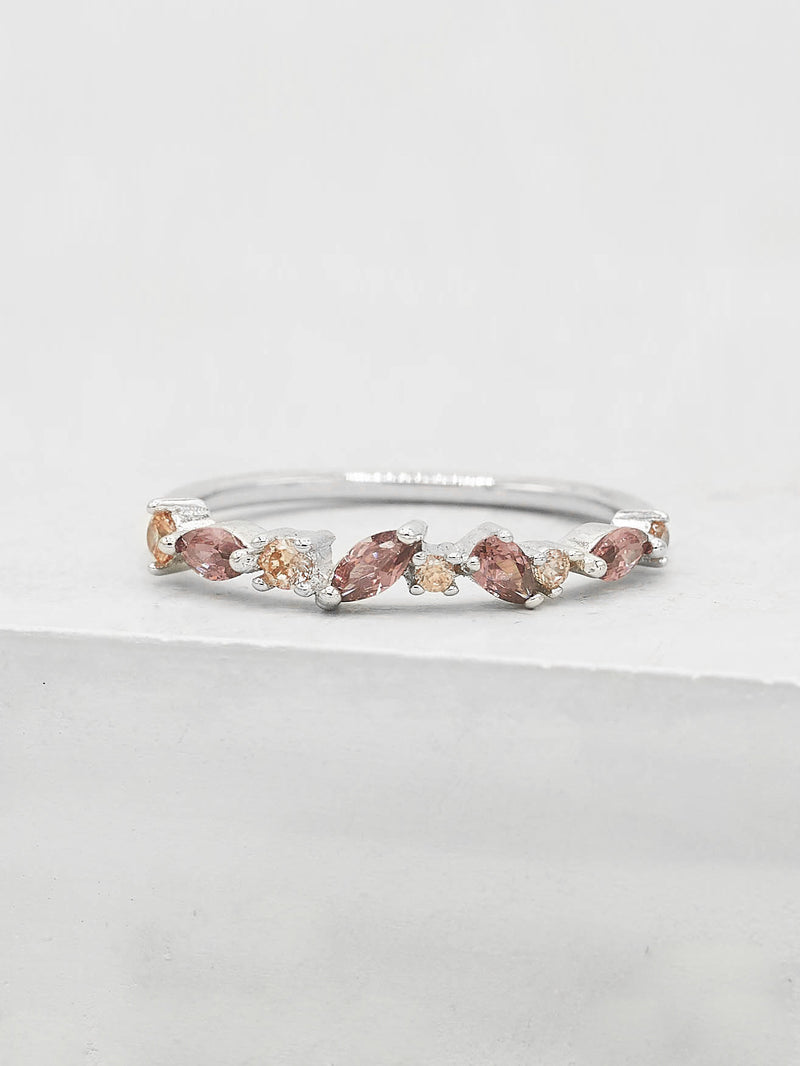 Rhodium Plated Brass Cluster design Pink CZ Stones Ring by The Faint Hearted Jewelry