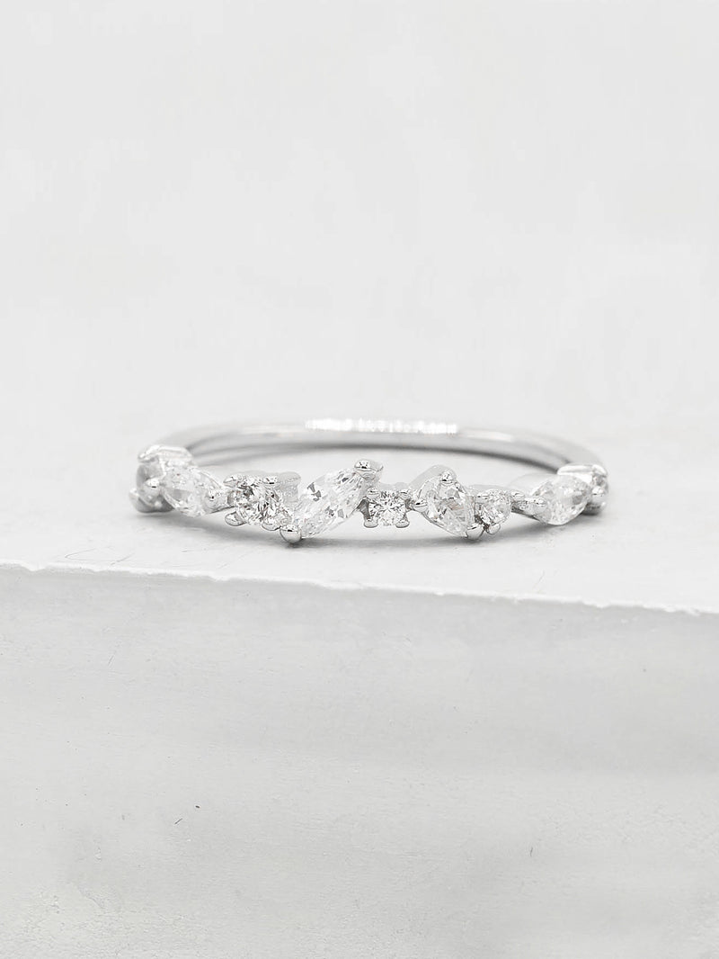 Rhodium Plated Cluster Stackable Dainty Ring by The Faint Hearted Jewelry