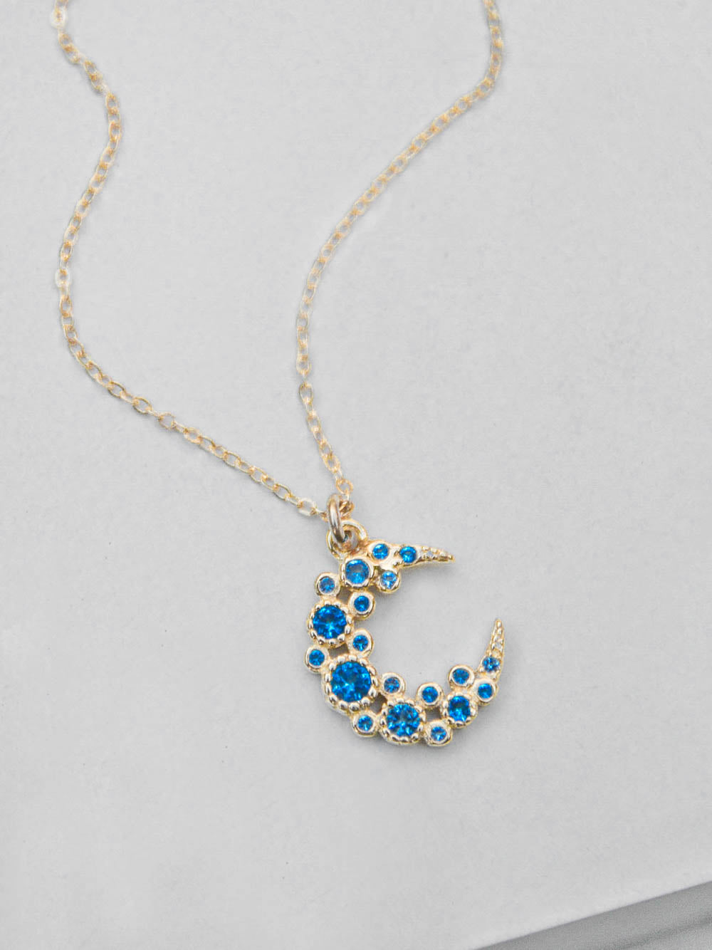 Blue Cluster Moon CZ Charm Gold Necklace  by The Faint Hearted Jewelry