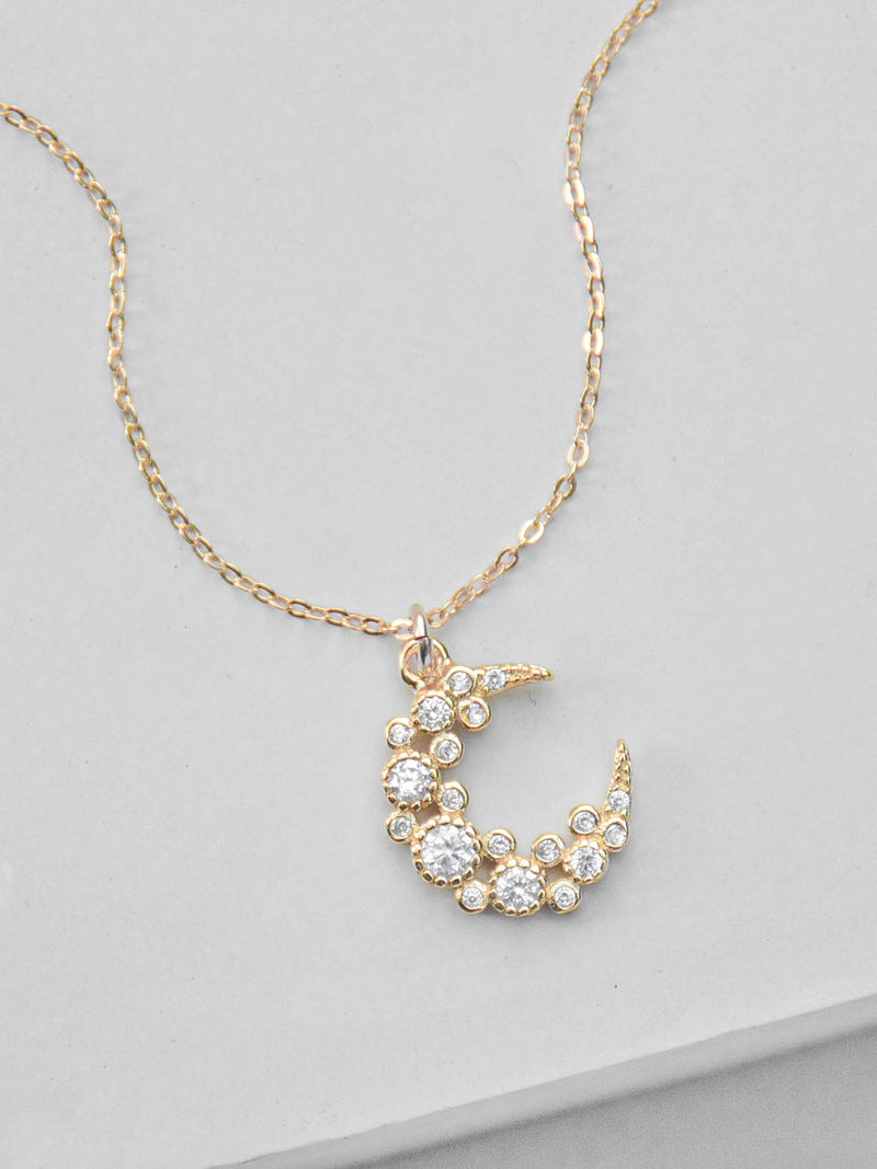 Gold Cluster Moon Necklace  by The Faint Hearted Jewelry
