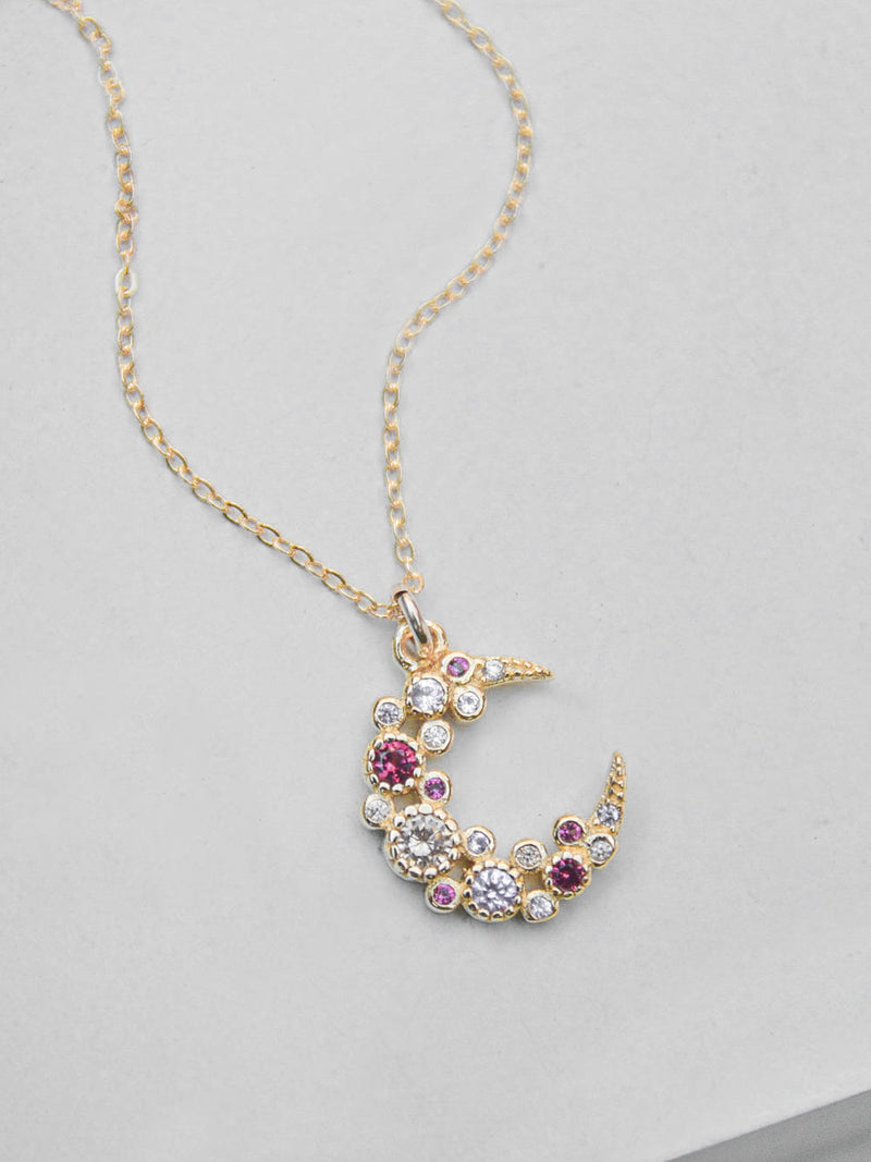 Pink Cluster Moon CZ Charm Gold Necklace  by The Faint Hearted Jewelry