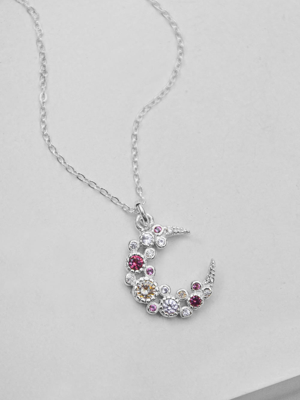 Pink Cluster Moon CZ Charm Silver Necklace  by The Faint Hearted Jewelry