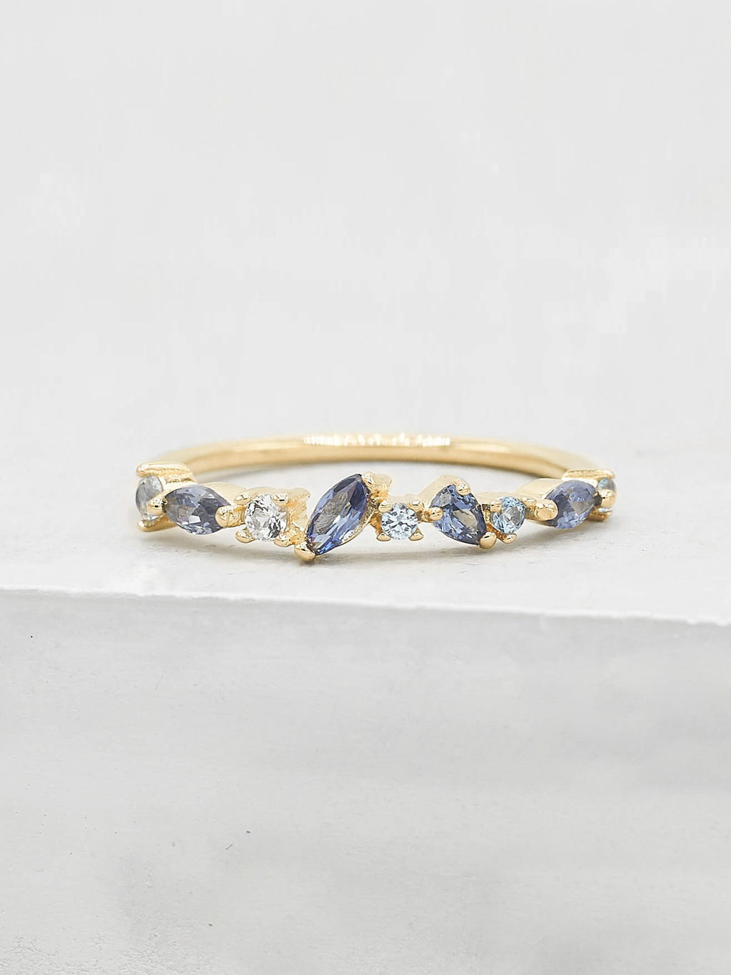 Gold Plated Cluster Ring with Blue Sapphire CZ Ring by The Faint Hearted Jewelry