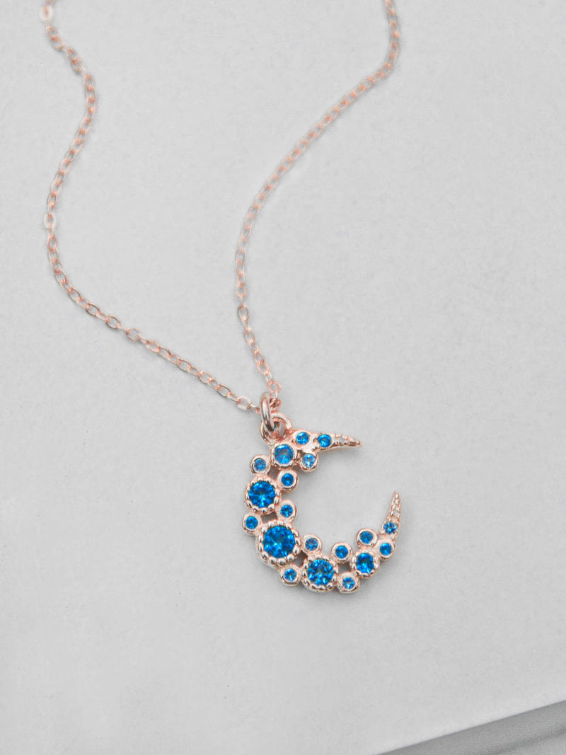 Cluster Moon Necklace - Blue