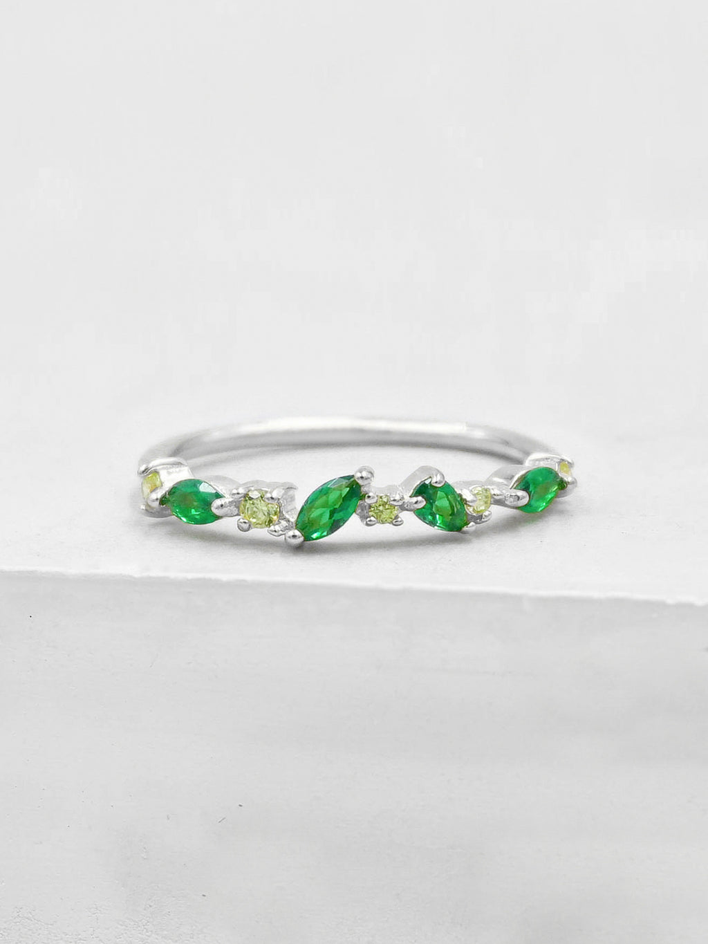 Cluster Ring - Silver + Green