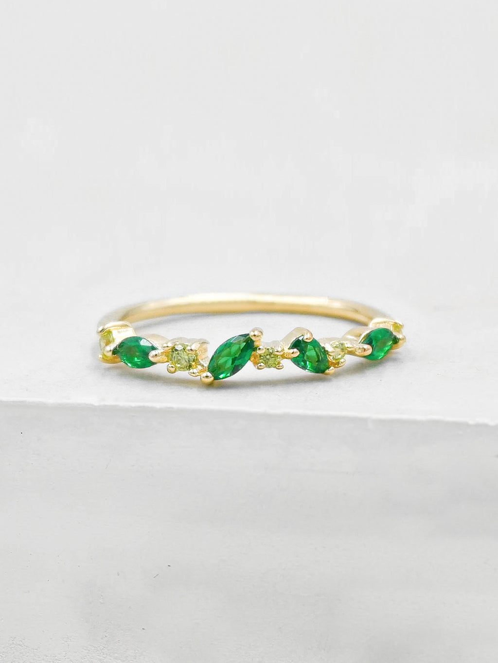 Cluster Ring - Gold + Green