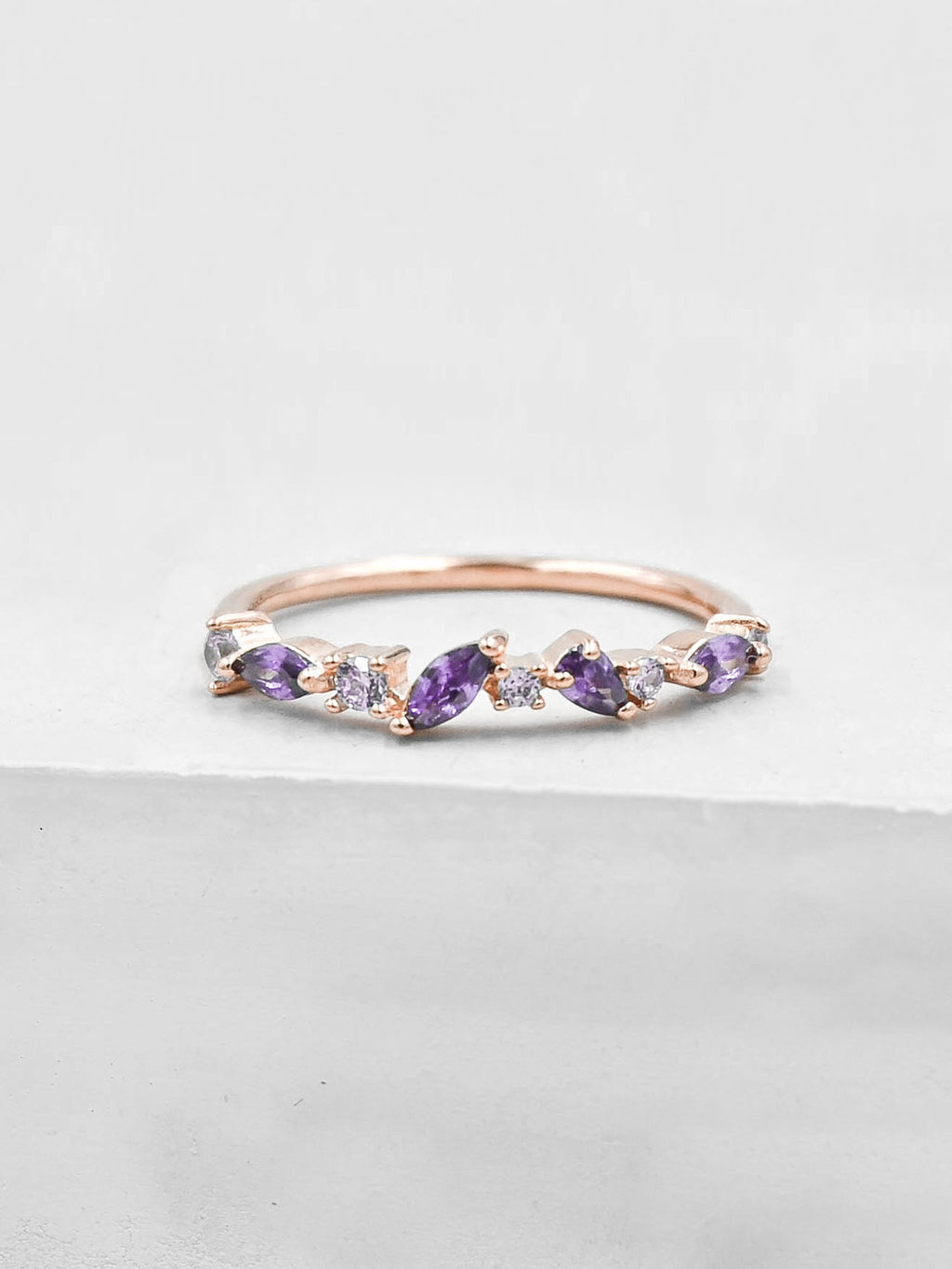 Cluster Ring - Rose Gold + Purple
