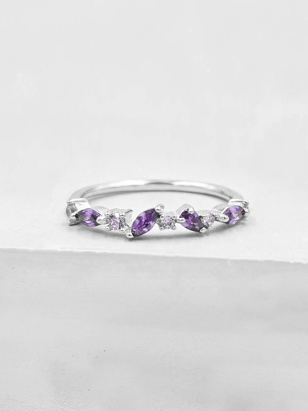 Cluster Ring - Silver + Purple