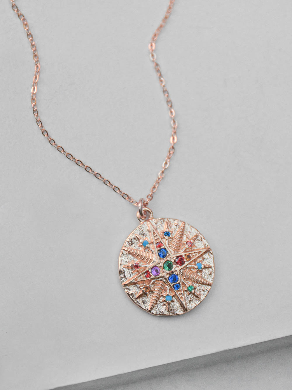 Rose Gold Compass Necklace  by The Faint Hearted Jewelry