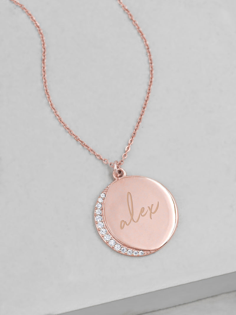 Customizable Crescent Moon - Rose Gold
