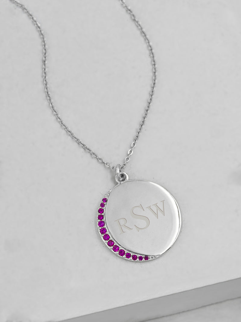 Customizable Crescent Moon - Silver + Ruby