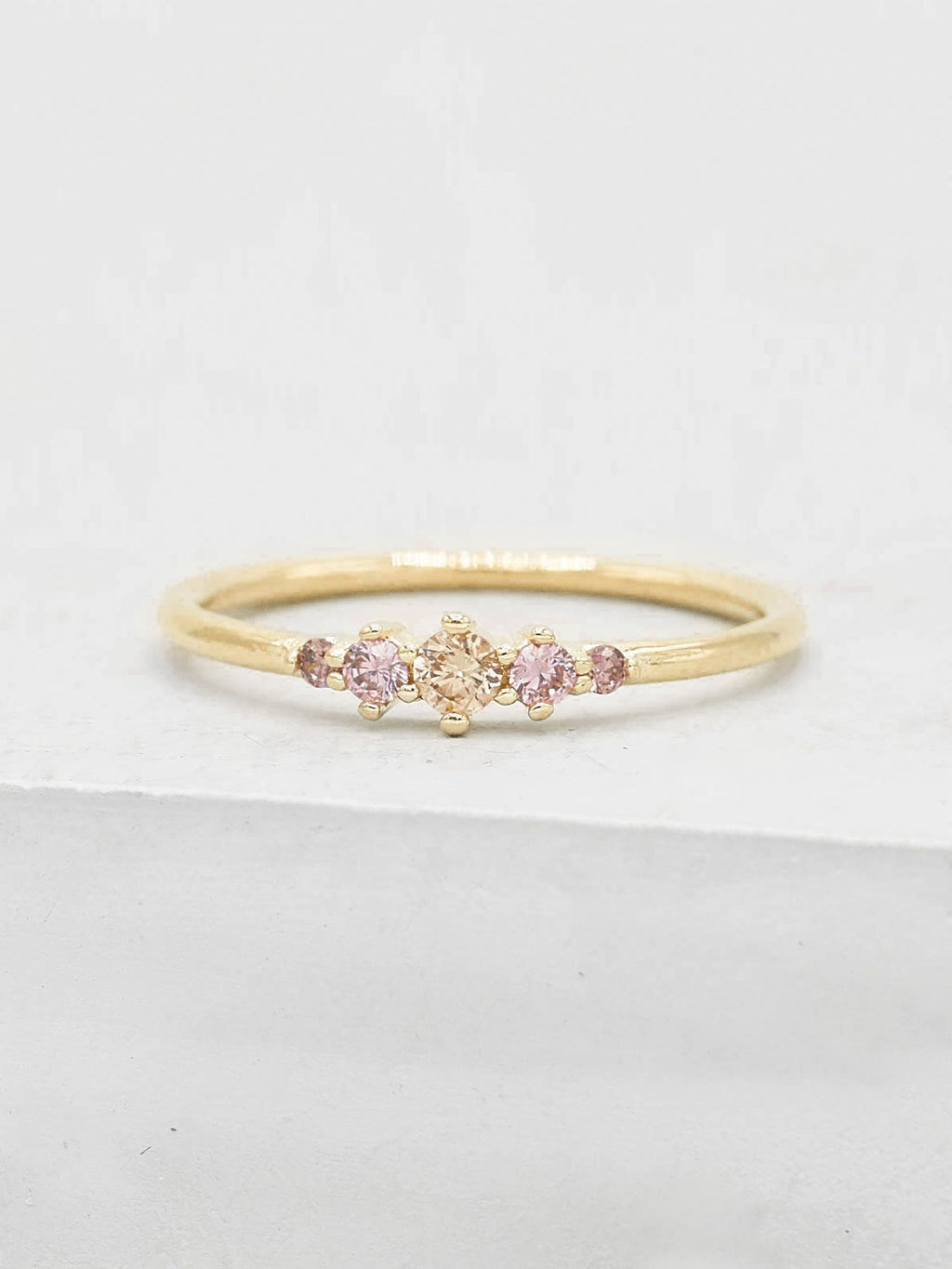 Gold Plated Brass Crown Design Pink Five Stone Round CZ Ring by The Faint Hearted Jewelry