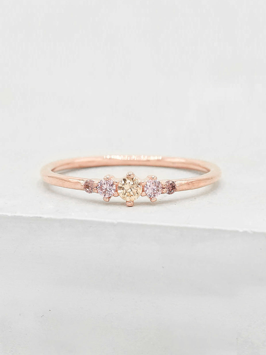Rose Gold Plated Brass Crown Design Pink Five Stone Round CZ Ring by The Faint Hearted Jewelry