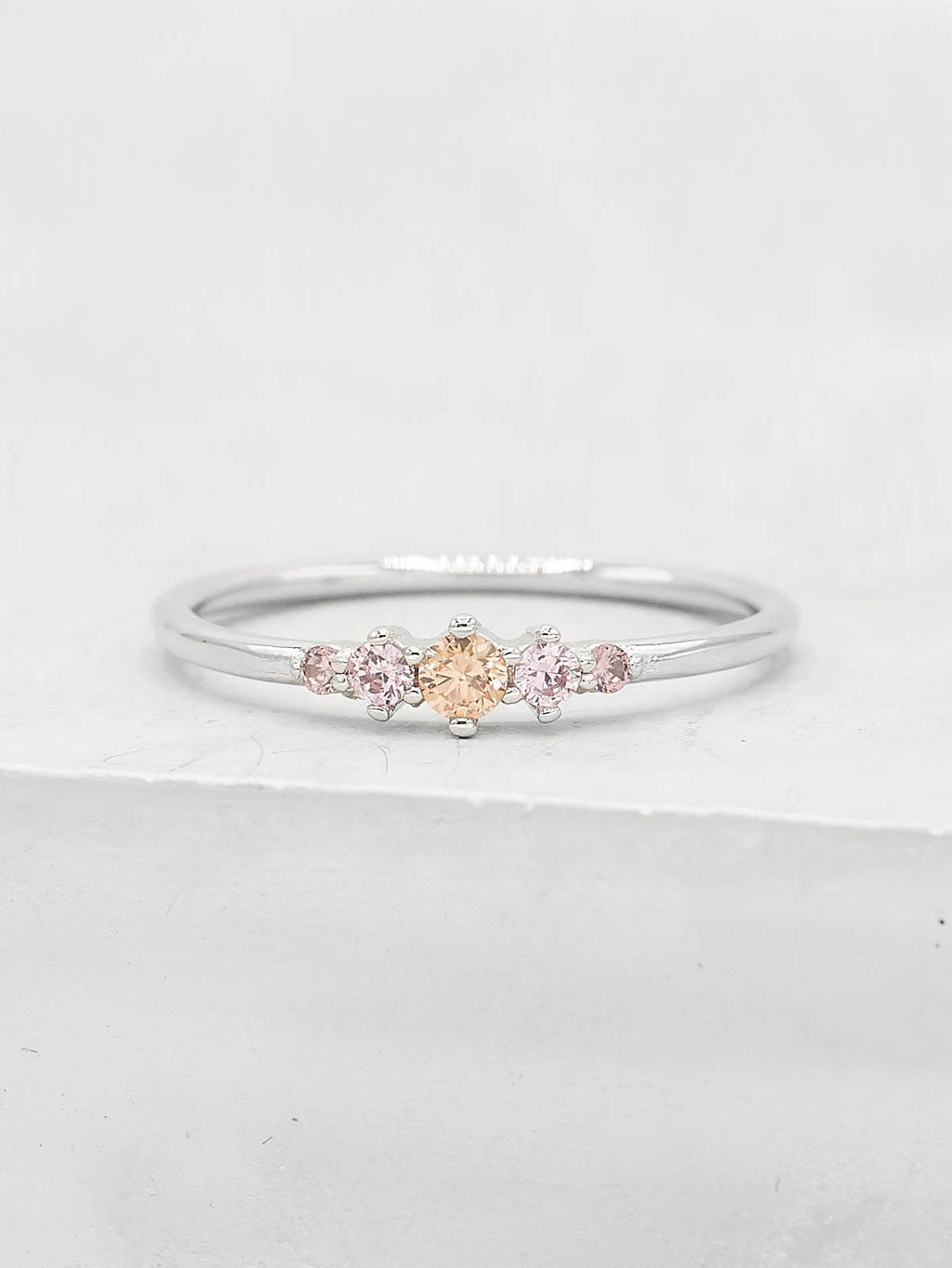 Rhodium  Plated Brass Crown Design Pink Five Stone Round CZ Ring by The Faint Hearted Jewelry